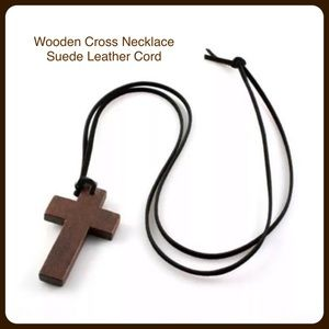 Wood Cross Necklace Suede Leather Cord NWT